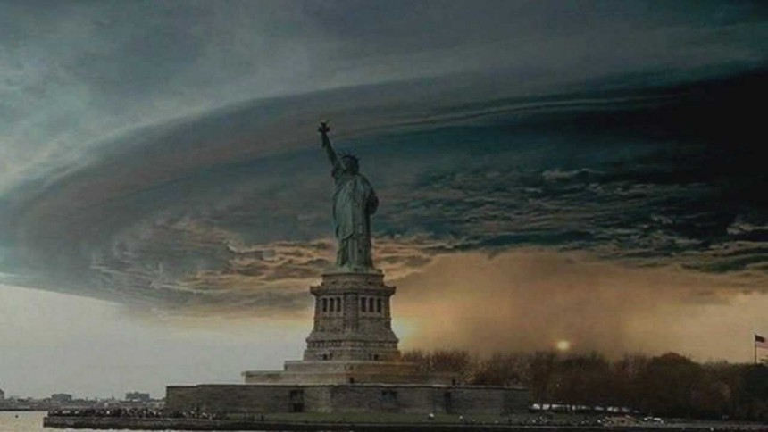 Fake image of hurricane Sandy.