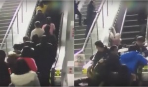See What Happens When Escalator Accidently Changes Direction