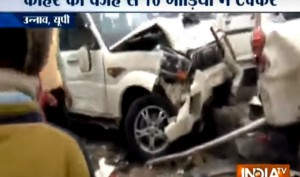 Watch: Car pile-up on Lucknow-Agra expressway due to dense fog, over dozen injured