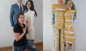 Before the Royal Wedding, Prince Harry and Meghan Markle turned into life-sized cake