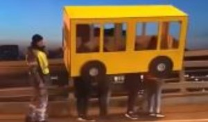 Watch: Russian men try to cross No Pedestrian Bridge pretending to be 'Human-Bus'